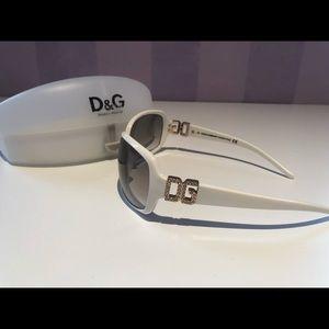 Dolce & Gabbana white rhinestone sunglasses